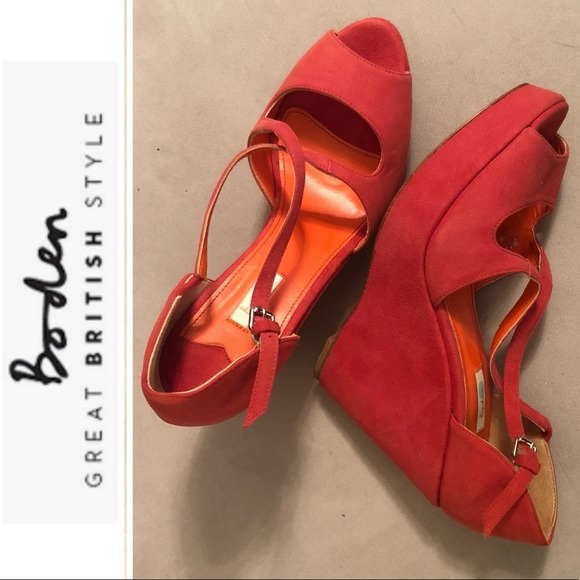 Boden Leather Sandal Wedges